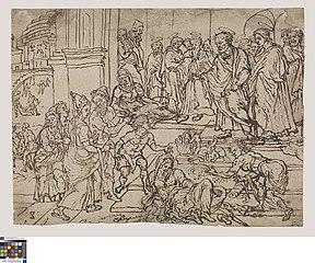 Ananias and Sapphira rebuked by Peter
