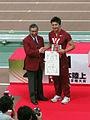 Dean Genki congratulated by Yohei Kono.jpg