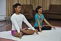 Debabrata Ghosh and Tania Nag in Padmasana - International Day of Yoga Celebration - NCSM - Kolkata 2016-06-21 4929.JPG