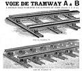 Decauville Voie de Tramway A et B a doubles rails sureleves sur supports en acier (cropped).jpg