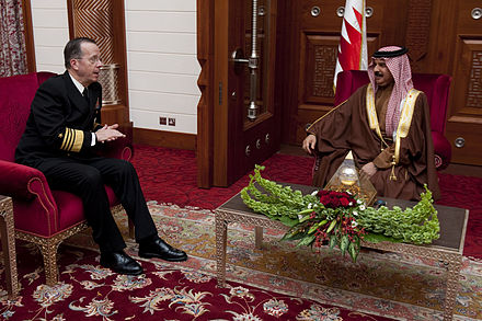 Admiral Michael Mullen, the top U.S. military officer, with King Hamad bin Isa Al Khalifa, February 24, 2011 Defense.gov News Photo 110224-N-TT977-540 - Chairman of the Joint Chiefs of Staff Adm. Mike Mullen U.S. Navy visits Manama Bahrain on Feb. 24 2011. Mullen is on a weeklong trip through.jpg