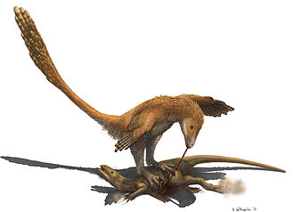 Deinonychus - Artist's interpretation of a Deinonychus preying on a Zephyrosaurus in manner suggested by Fowler et al (2011)