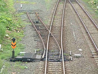 Derail - Derail on Nemuro Main Line, JR Hokkaido. It is set so that a train proceeding away from the camera will remain on the track.