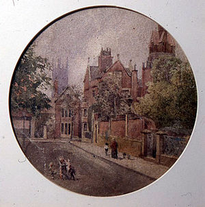 Georg Holtzendorff - Becket Street by Georg Holtzendorff. Shows the Derby Museum and Art Gallery c. 1882, when there was a house for the curator.