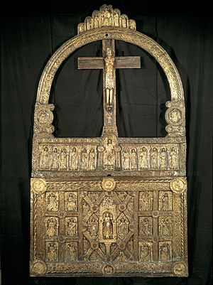 Lisbjerg - Golden altar from Lisbjerg stone church at the National Museum of Denmark