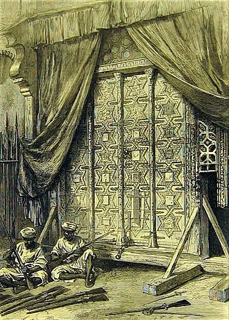 Somnath temple - The Gates from the tomb of Mahmud of Ghazni stored in the Arsenal of Agra Fort - Illustrated London News, 1872