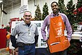 Detroit, MI, October 11, 2014 - Joe Anderson (left), FEMA Hazard Mitigation Specialist, and Alvin Thornton (right), Home Depot Assistant Manager, smile for the camper a as they assi - DPLA - ca28a08f914cc7d2b83f92e2fa5a9d99.jpg
