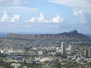 Diatreme - Diamond Head, a tuff cone that formed 200,000 years ago.
