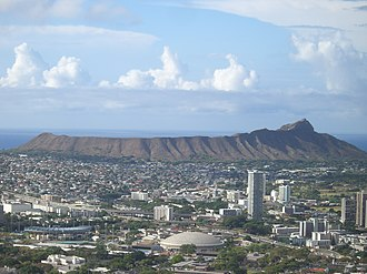 Diamond Head, Hawaii - Diamond Head cone seen from Tantalus-Round Top  Road