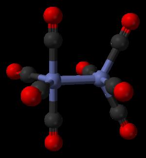 Dicobalt octacarbonyl - Image: Dicobalt octacarbonyl D2d non bridged 3D balls
