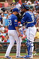 Dillon Gee and Salvador Perez chat (25414095500).jpg