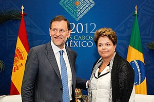Brazil–Spain relations - Brazilian President Dilma Rousseff with Spanish Prime Minister Mariano Rajoy in Los Cabos, Mexico; 2012