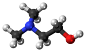 Ball-and-stick model of the dimethylethanolamine molecule