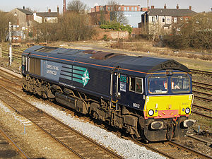 British Rail Class 66 - Direct Rail Services Class 66 locomotive 66 412, in 'Compass' livery