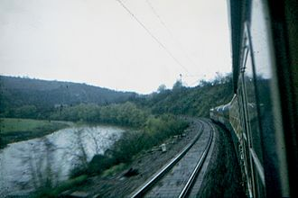 Schnellzug - A D-Zug from Saarbrücken–Düsseldorf on the Saar railway at Mettlach