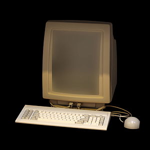 Lilith (computer) - The vertical screen, keyboard and mouse of the Diser Lilith