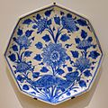 Dish with a wolf among blossoms, Iran, 17th century AD, underglaze-painted fritware - Aga Khan Museum - Toronto, Canada - DSC06967.jpg