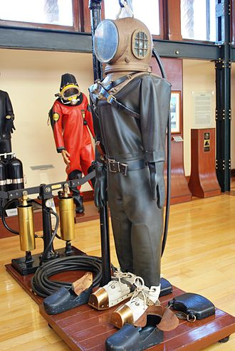 Diving suit - Early diving suit on display at the Naval History Museum in Mexico City.