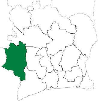 Dix-Huit Montagnes - Dix-Huit Montagnes Region upon its creation in 1997. Dix-Huit Montagnes retained these boundaries until 2000, when it was divided to create Moyen-Cavally Region.