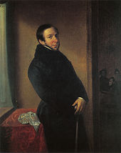 painting of prosperous-looking man in fur-collared black coat