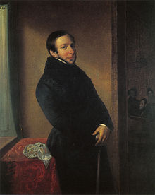 painting of prosperous-looking mann in fur-collared black coat