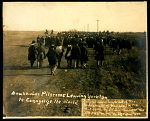 Doukhobors - Doukhobor pilgrims leaving Yorkton to evangelize the world, 1902