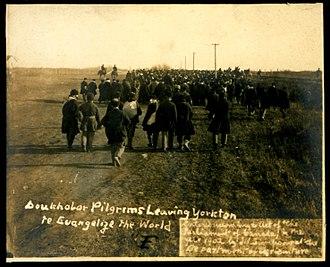 Doukhobors - Doukhobor pilgrims leaving Yorkton to evangelize the world, 1902