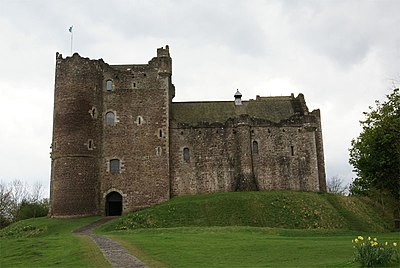 Doune Castle, built by Stewart, still stands today. Doune Castle - front.jpg