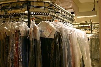 Dry cleaning - Many dry cleaners place cleaned clothes inside thin clear plastic garment bags