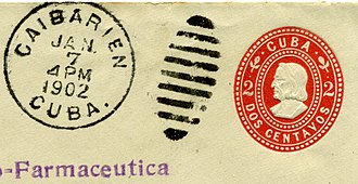 Duplex canceller - Misapplied duplex cancellation which failed to obliterate the postal stationery indicium.