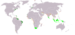 An anachronous map of the Dutch colonial Empire. Light green: territories administered by or originating from territories administered by the Dutch East India Company; dark green the Dutch West India Company.  Countries today  Netherlands Angola Bangladesh Belgium Brazil Canada Chile Cote d'Ivoire French Guiana Ghana Guyana Kuwait India Indonesia Luxembourg Malaysia Mauritius São Tomé and Príncipe Senegal South Africa Sri Lanka Suriname Taiwan Thailand United Kingdom United States Western Sahara