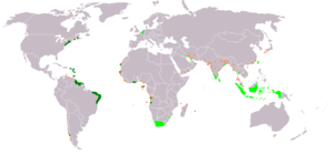Spanish expedition to Formosa - An anachronous map of the Dutch colonial Empire. Light green: territories administered by or originating from territories administered by the Dutch East India Company; dark green the Dutch West India Company.