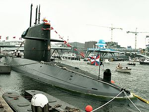 The Dutch submarine Zeeleeuw of the Walrus class photographed at SAIL Amsterdam 2005.