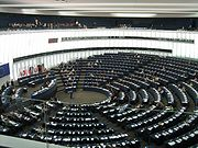 The hemicycle of the Parliament's Louise Weiss building in Strasbourg