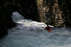 Lewis River (Washington) - Kayaker in the gorge of East Fork Lewis River (Dragon's Back)