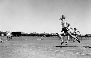 East Fremantle Oval - Shirley de la Hunty running at the oval in 1960.