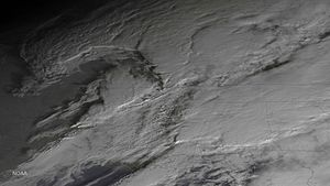 Tornado outbreak of December 23–25, 2015 - GOES 13 satellite image of thunderstorms across the Eastern United States on December 23