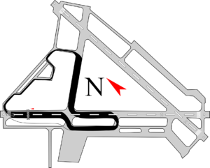 Edmonton City Centre (Blatchford Field) Airport - Overlay of the pre-2011 Edmonton IndyCar track on an airport map.