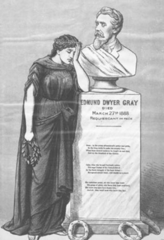 Hibernia (personification) - Hibernia representing a mourning Ireland. As published by the nationalist newspaper United Ireland following the death of Edmund Dwyer Gray in 1888.