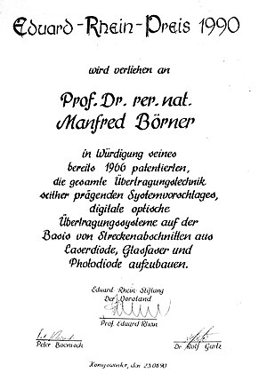 Manfred Börner - Document of the Eduard Rhein Foundation 1990