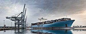 Port of Aarhus - Eleonora Maersk in the harbor