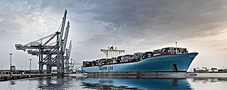 Port of Aarhus - Eleonora Maersk in the harbor