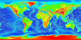 Holocene - Current Earth – showing topography of the land and bathymetry of the oceans