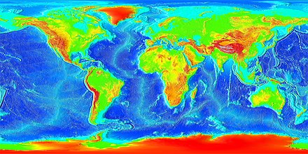 Current Earth - showing topography of the land and bathymetry of the oceans Elevation.jpg