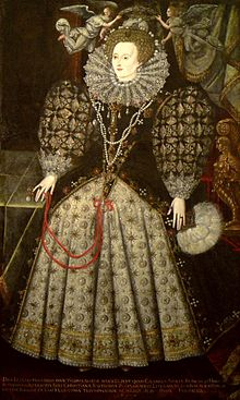 A woman in an elaborately-decorated long dress, patterned with jewels. A large ruff around her neck; over her head, two angels support a laurel wreath