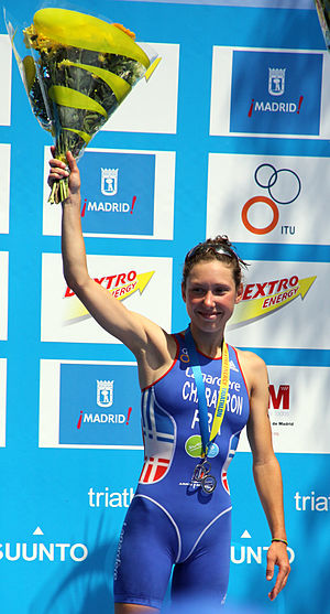 Emmie Charayron - Emmie Charayron with the silver medal at the World Championship Series Triathlon in Madrid, 2010.