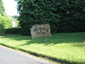 Crambeck - Image: Engraved village name stone for Crambeck Village geograph.org.uk 201646