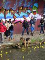 Entenrennen auf der Dreisam in Freiburg, Mensch und Tier befreien am Ufer festgeschwommene Plasiken.jpg