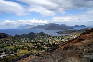 Aeolian Islands - View from Vulcano, Lipari in the middle, Salina at the left, Panarea at the right