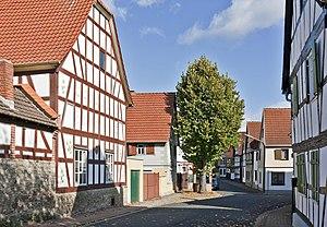 Fachwerkhäuser in der Brunnenstraße im Ortsteil Langendiebach